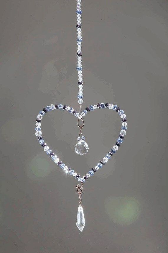 Sale Crystal Beaded Suncatcher Heart With By Elementalrosedesigns