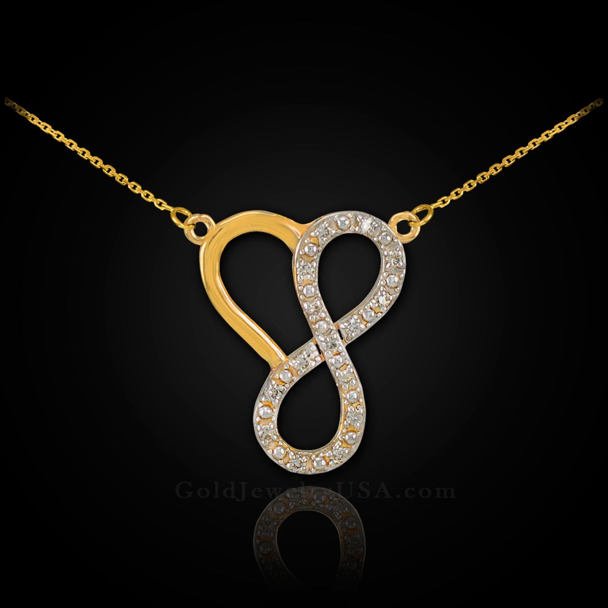 14K Yellow Gold Polished Infinity Heart Pendant