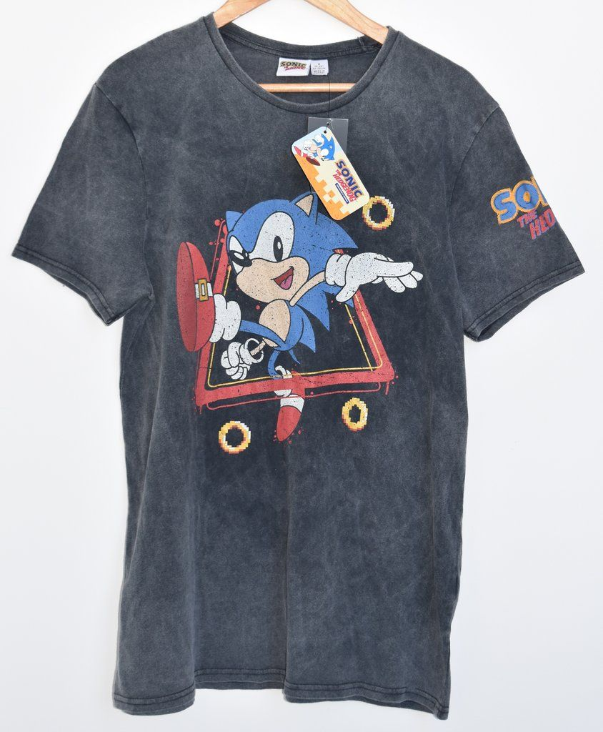 4c3f0f7b Primark Sonic The Hedgehog T Shirt Men's SEGA Gamer Grey Faded UK Sizes M -  XXL