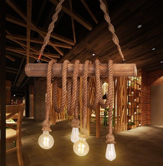 Hanglamp Pendel Hout Touw Vintage Beige E27 Lampen Met Touw Hanglamp Touw Lamp
