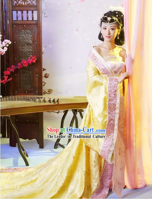 926764c3f Chinese Classical Tang Dynasty Clothing Complete Set with Long Tail ...