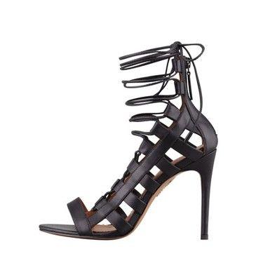 Aquazzura Amazon Lace-Up Ankle-Wrap Sandal from bergdorfgoodman.com  