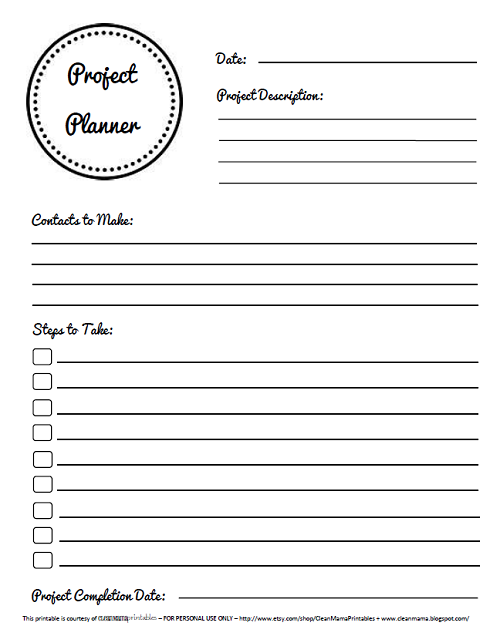 Free Printable From Clean Mama Blog: Project Planner Sheet With Project  Description, People To  Free Project Planner Template