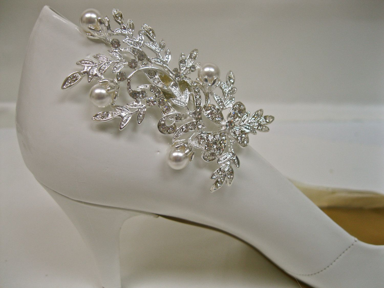 Mother Of The Bride Shoes And Accessories: Rhinestone Pearl Shoe Clips, Crystal Bridal Wedding Shoe