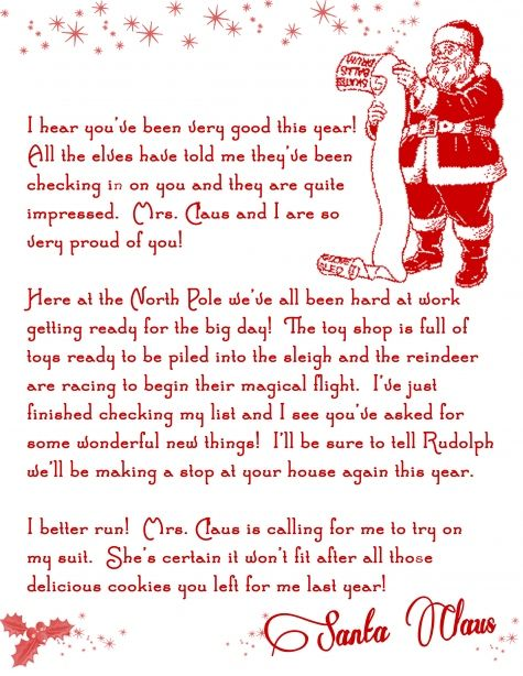 photo about Printable Letters From Santa named Get this Absolutely free Printable Letter towards Santa Xmas Strategies