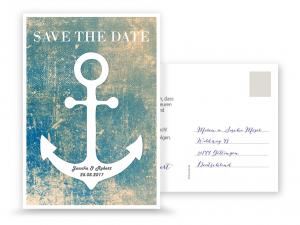 save the date karte in pastel gr n mit wei em anker postkarte maritime hochzeit pinterest. Black Bedroom Furniture Sets. Home Design Ideas