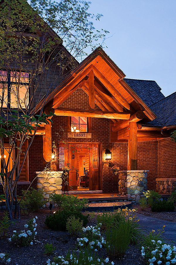 Northville lodge cedar shakes white cedar and bricks for Log and brick home