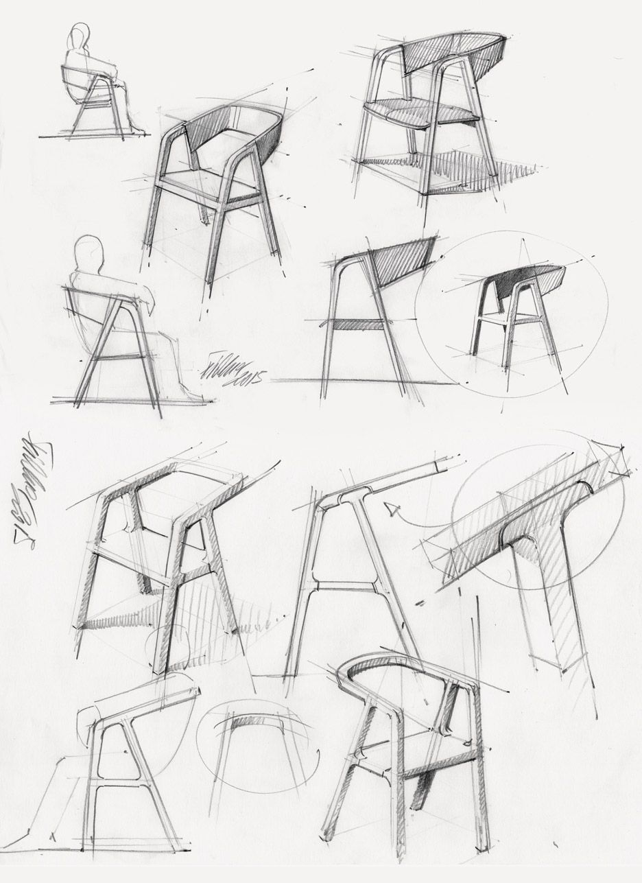 Thomas Feichtner S Minimal A Chair Is Made Using Traditional Carpentry Technique Concept Sketch Furniture Design Sketches Sketch Design Chair Design Wooden