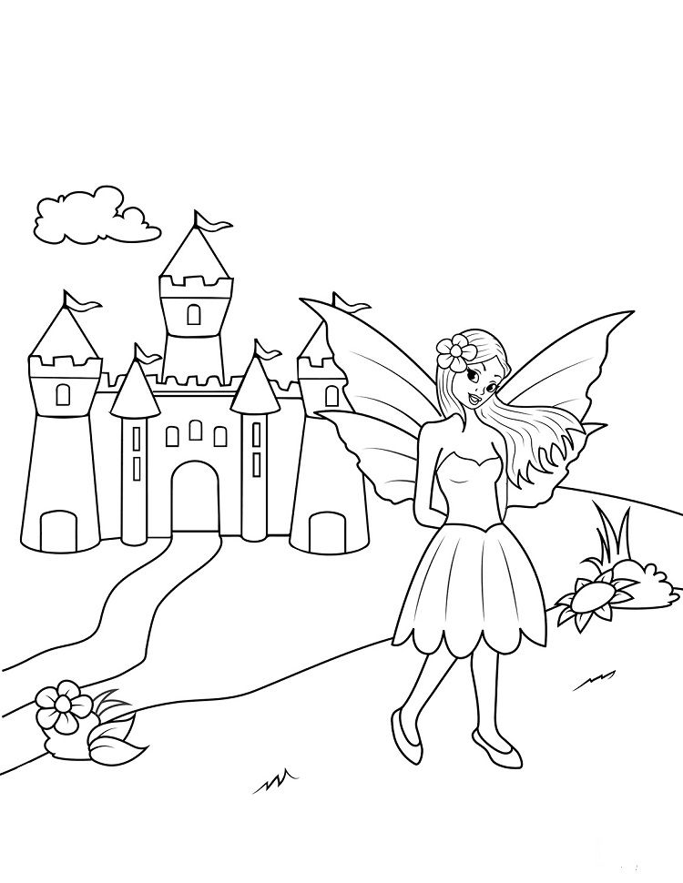 Fairy Near Castle Coloring Pages