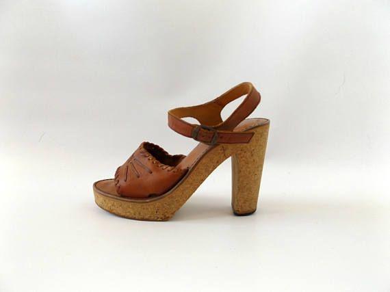 13e3f78af14 Boho tall platform leather sandals - vintage 70s cork wedge open toe ...