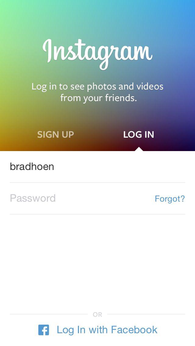 Instagram sign in screen | UI / UX login intro screens