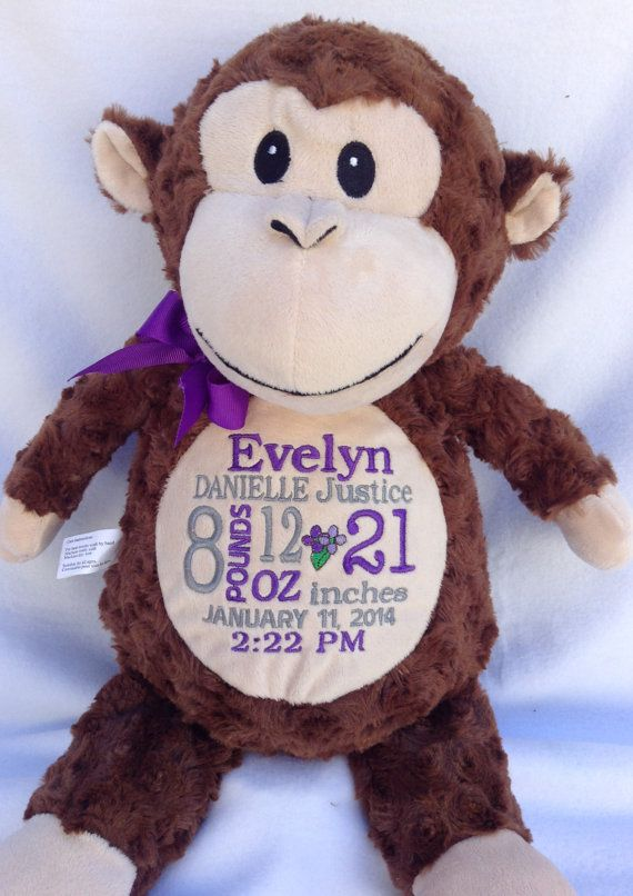 Monogrammed baby gift personalized monkey birth announcement by personalized baby gift monogrammed monkey by worldclassembroidery negle Image collections
