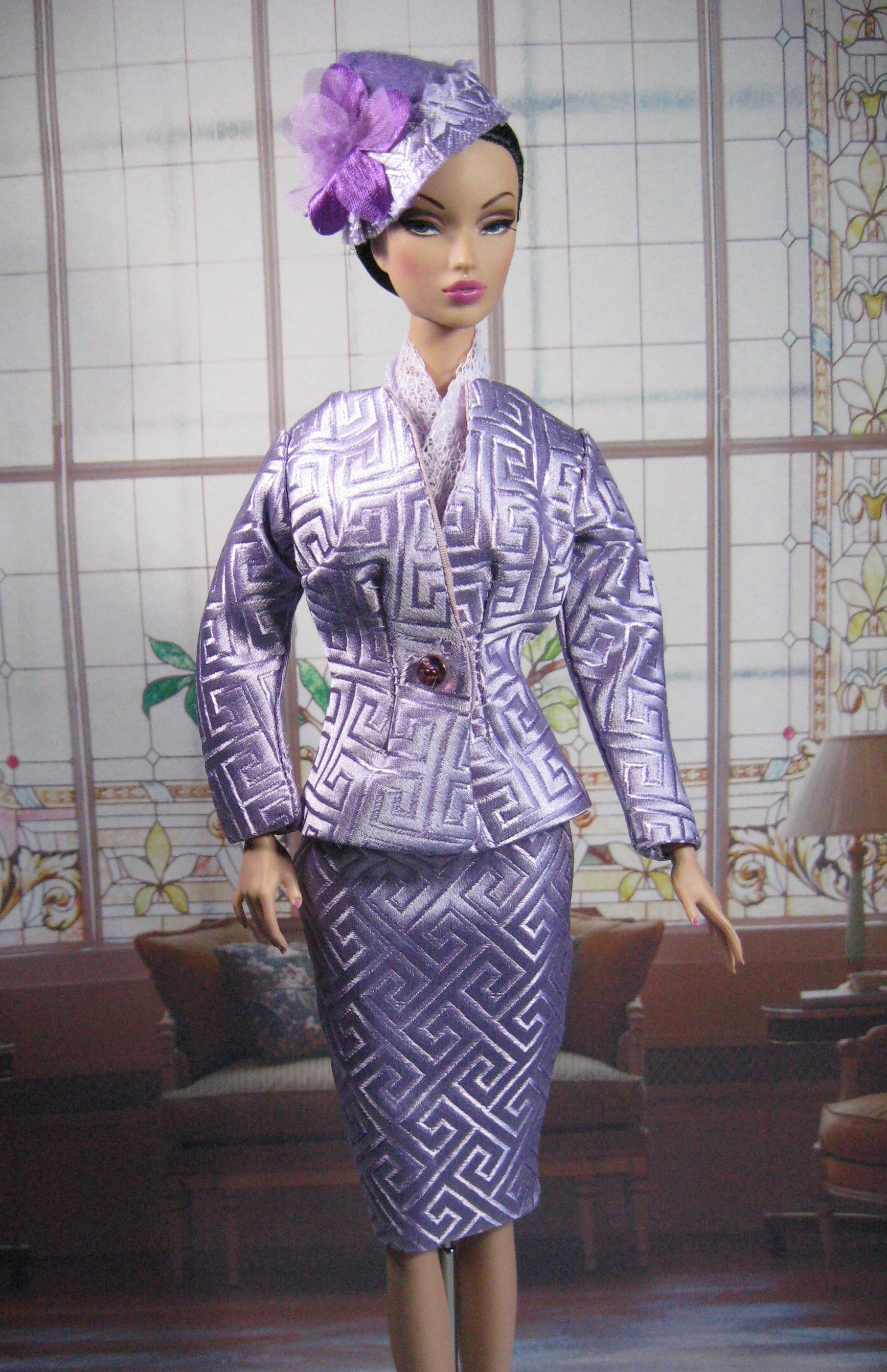 Lavender Silk Brocade two piece suit modeled by Integrity Toy's Victoire.