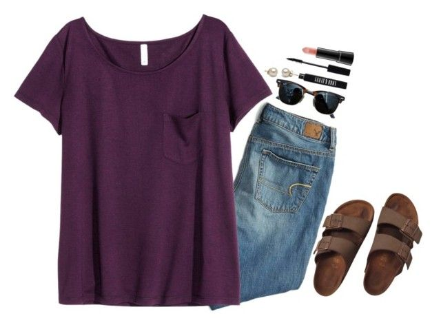"""""""this girl right here's gonna rule the world"""" by preppy-classy ❤ liked on Polyvore featuring American Eagle Outfitters, Birkenstock, Lord & Berry, H&M, Ray-Ban and MAC Cosmetics"""
