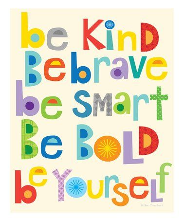 Ellen CrimiTrent 'Be Kind Be Brave' Print is part of Art wall kids - Adorn a bedroom wall with this colorful, modern print to remind little ones of the importance of being kind and brave  Shipping note This item is made to order  Allow extra time for your special find to ship