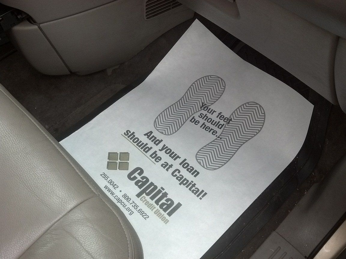 Disposable Paper Auto Floor Mats Are Great Advertising For Banks Or Finance Companies To Give Out To Dealerships