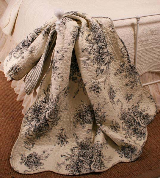 Black toile quilt: provincial, comfy appearance, but with the more ... : toile quilts - Adamdwight.com