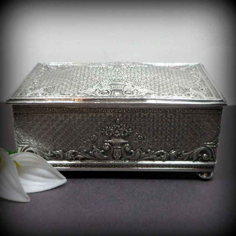 Vintage Barbour Silver Plate Trinket Box Cigarette Holder Repousse Wood Lined C 1900s, Shop Rubylane.com