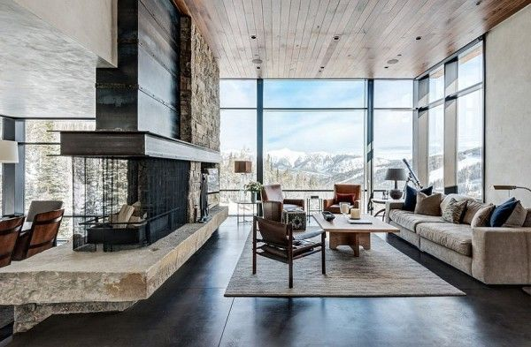 Mountain retreats offer the perfect backdrop for a rustic style space