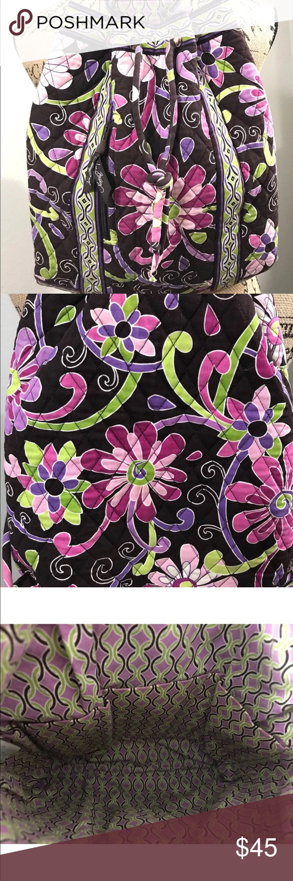 """Clean on the inside 14""""Length 12"""" Height Thanks for looking! Peace. Vera  Bradley Bags Backpacks. Vera Bradley purple punch ... ce84e2ed8b"""
