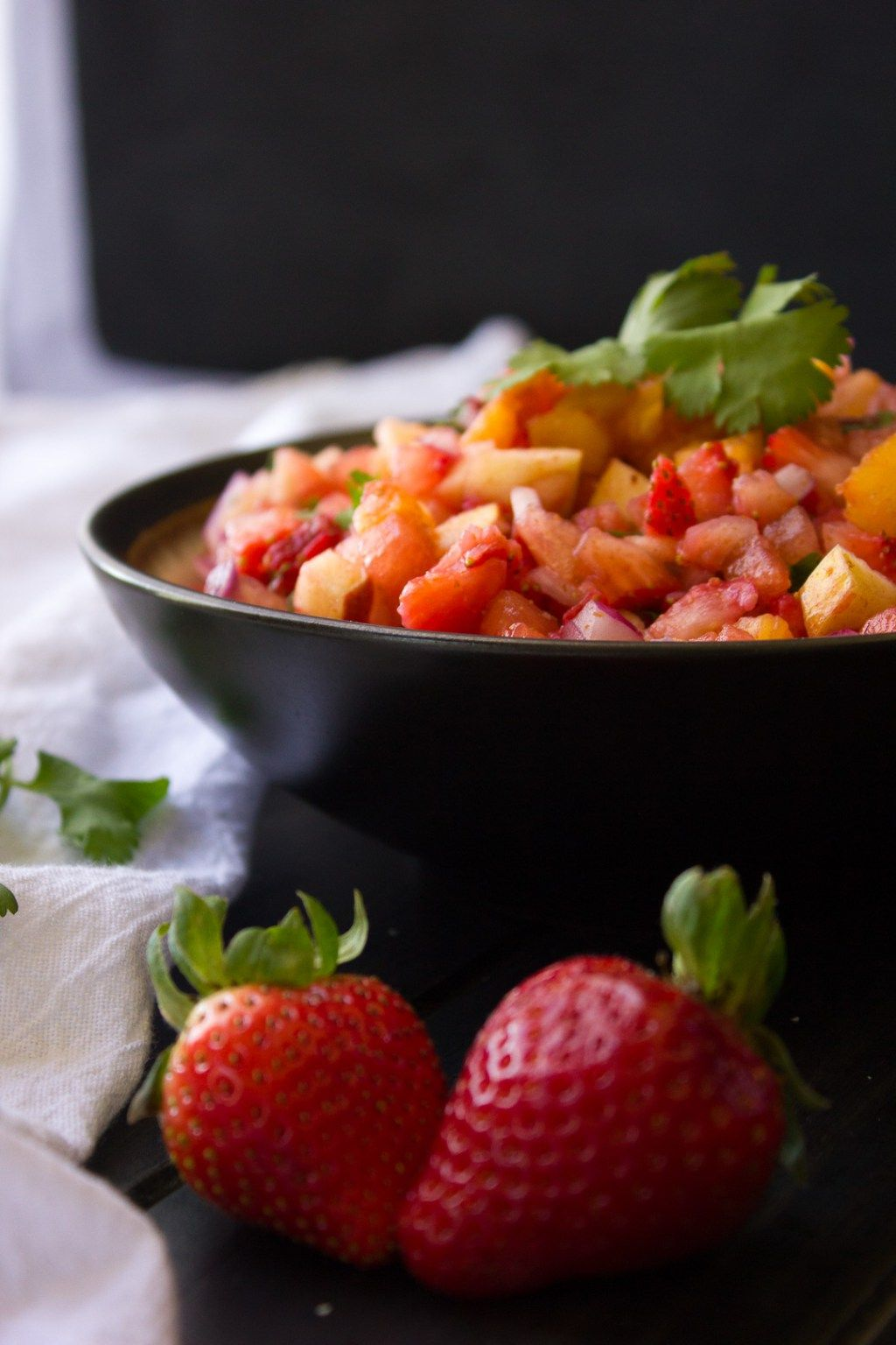 Watermelon and Strawberry Fruit Salsa   I Say Nomato