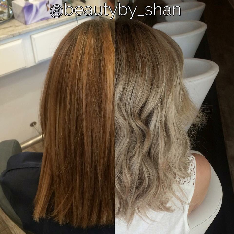Before And After Brassy To Ashy Blonde Balayage Rooty Color