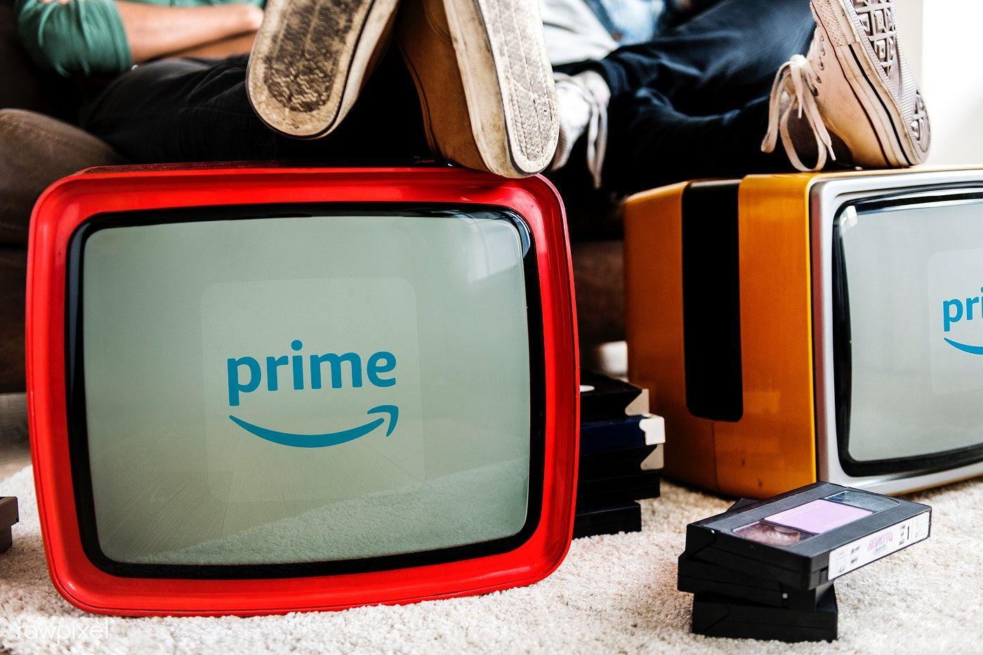 Amazon Prime Video logo showing on retro TVs free image