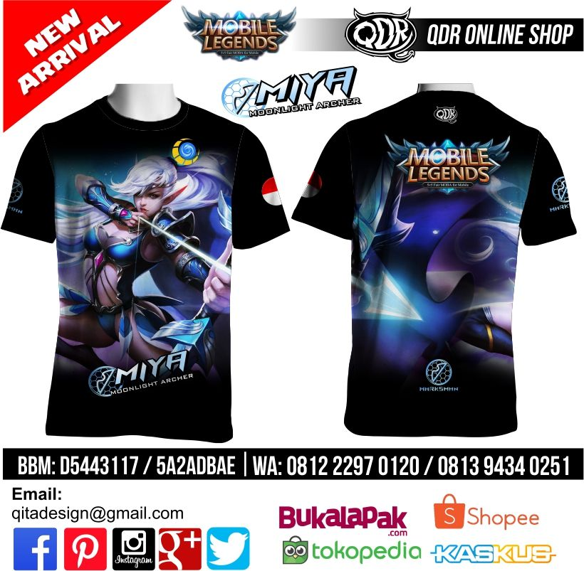T Shirt Mobile Legends Miya Skin Moonlight Archer Untuk Pemesanan