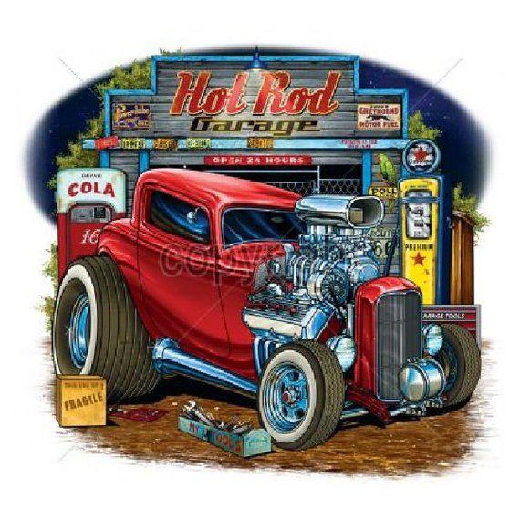 Hot Rod Garage Open 24 Hours Adult Unisex Long Sleeve Car