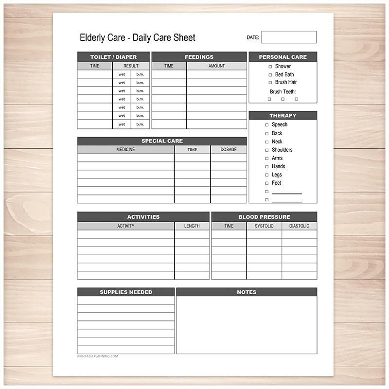 Elderly Care Daily Care Sheet Printable At Printable Planning