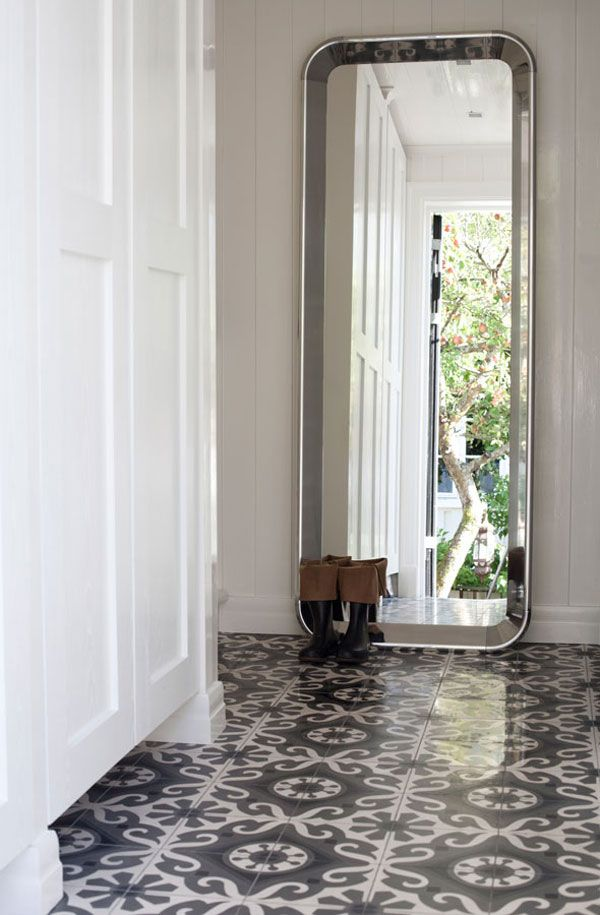 Norwegian Summer House Floor Tiles And Oversized Mirror Home