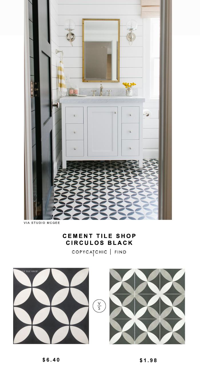 Cement Tile Shop Circulos Black Tile (Copy Cat Chic)   Black tiles ...