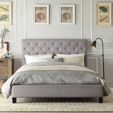 Inspire Q Kingsbury Grey Linen Tufted Upholstered Platform Bed