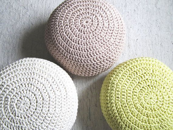 Bright Coral Crochet Round Pouf Ottoman Chunky Footstool Pouffe