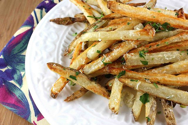 Baked French Fries Recipe with Garlic, Parsley, and Parmesan Cheese by CookinCanuck, via Flickr --- soooo amazing!!