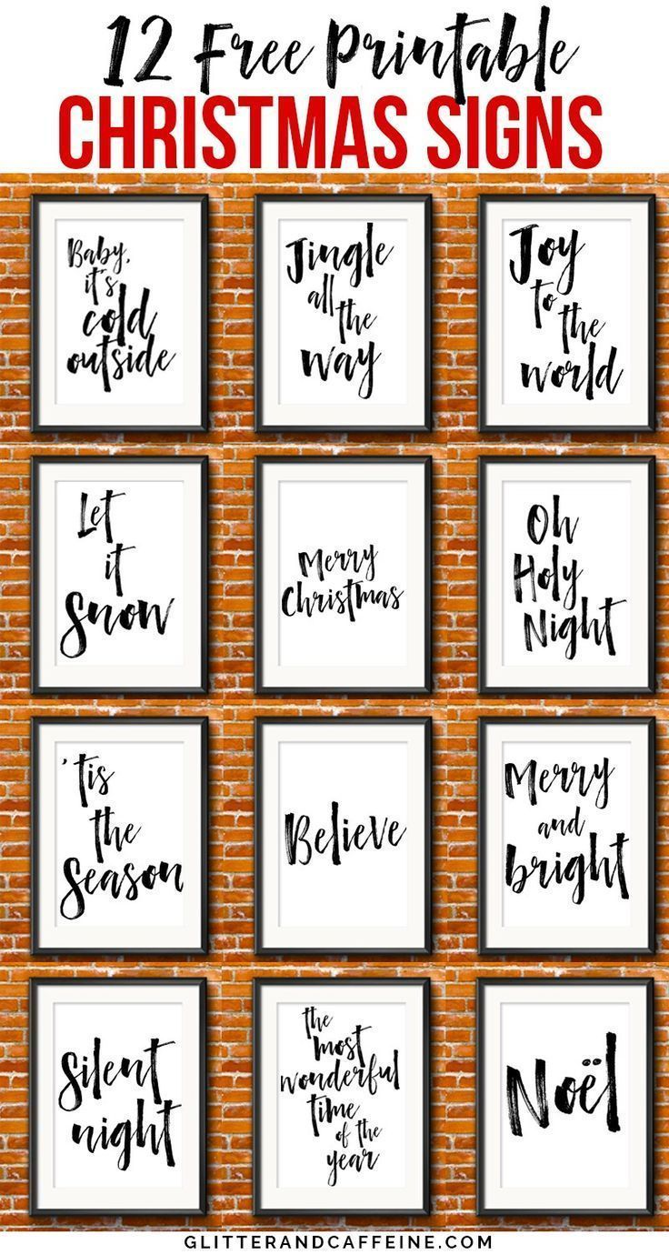 12 free printable Christmas signs. Cheap and inexpensive way to decorate for Christmas and bring some Holiday cheer in your house. ** DIY Christmas decorations. Instant download. Free Christmas printables.