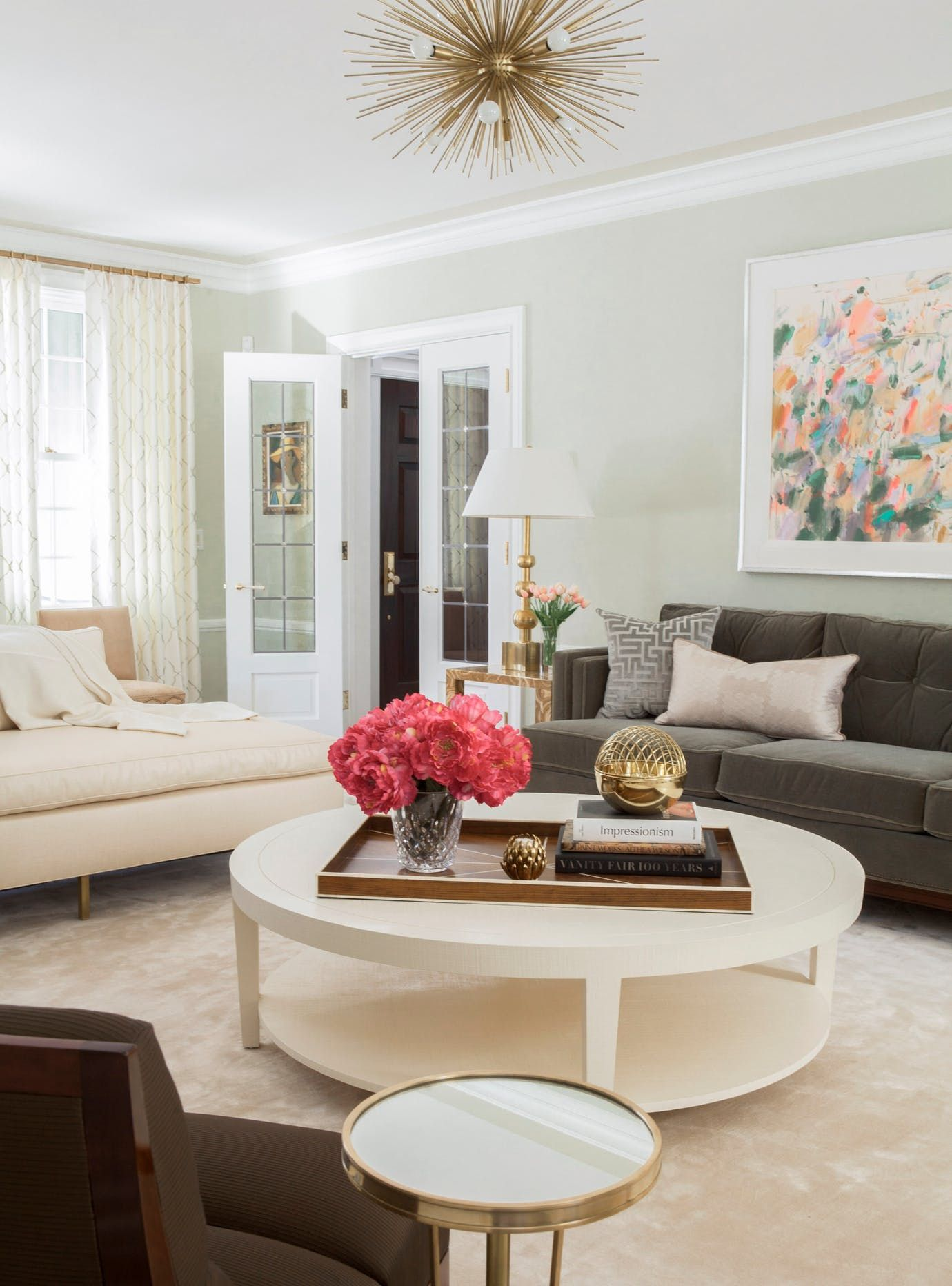 Pastel Living Room with Sputnik Style Chandelier Living Contemporary ...