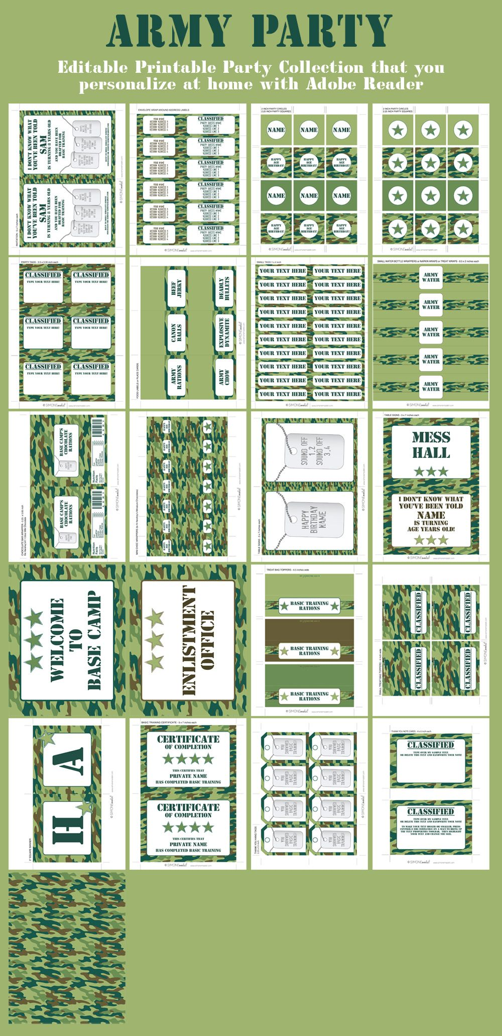 Army Party Printables Invitations Decorations