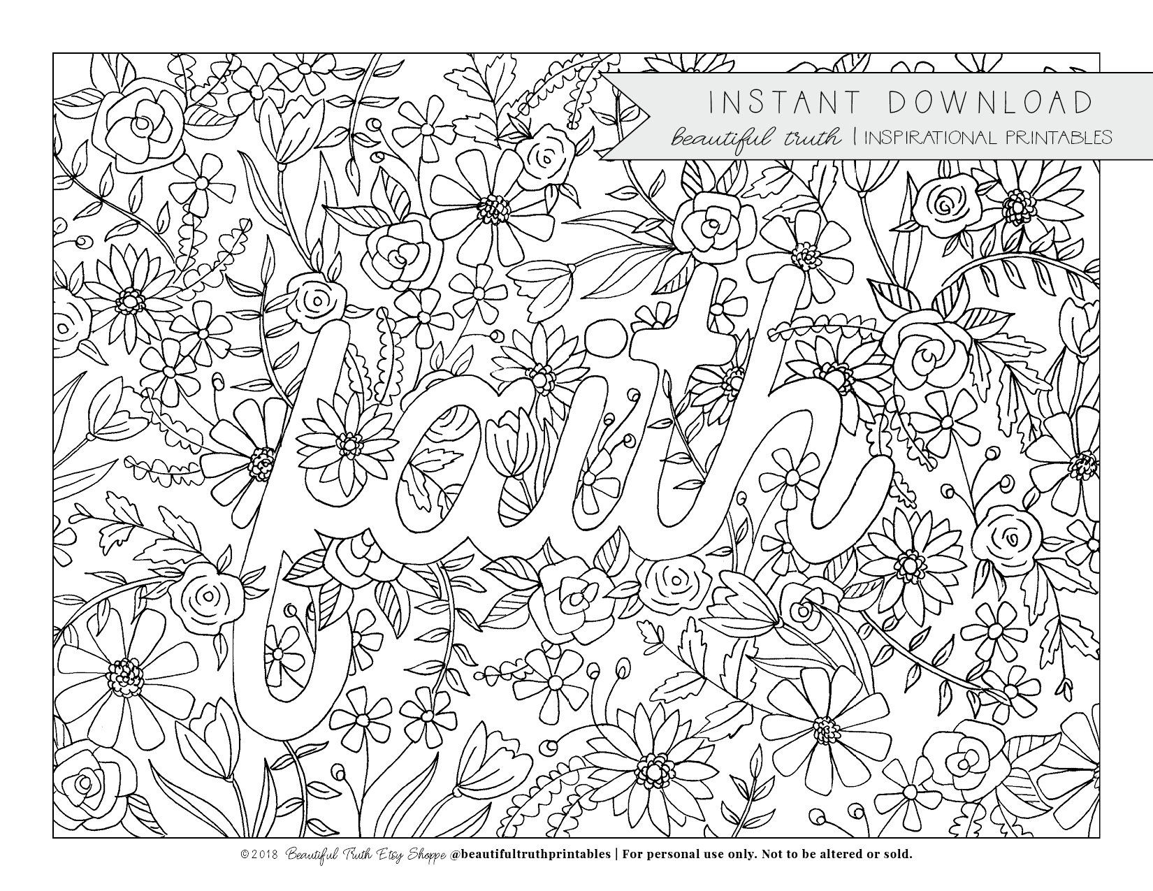 Faith Coloring Page Printable Coloring Christian Coloring Etsy Coloring Pages Christian Coloring Printable Coloring