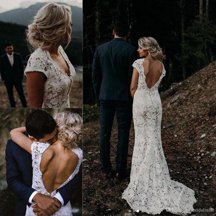 Discount White Lace Garden Boho Brautkleider 2019 Vintage V-Ausschnitt Country Beac