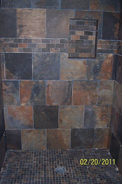 Slate Tile In The Shower Bathrooms Forum Gardenweb Shabby Chic Bathroom Slate Bathroom Bathrooms Remodel
