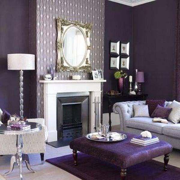 dark purple and soft purple living room decoration Home ...