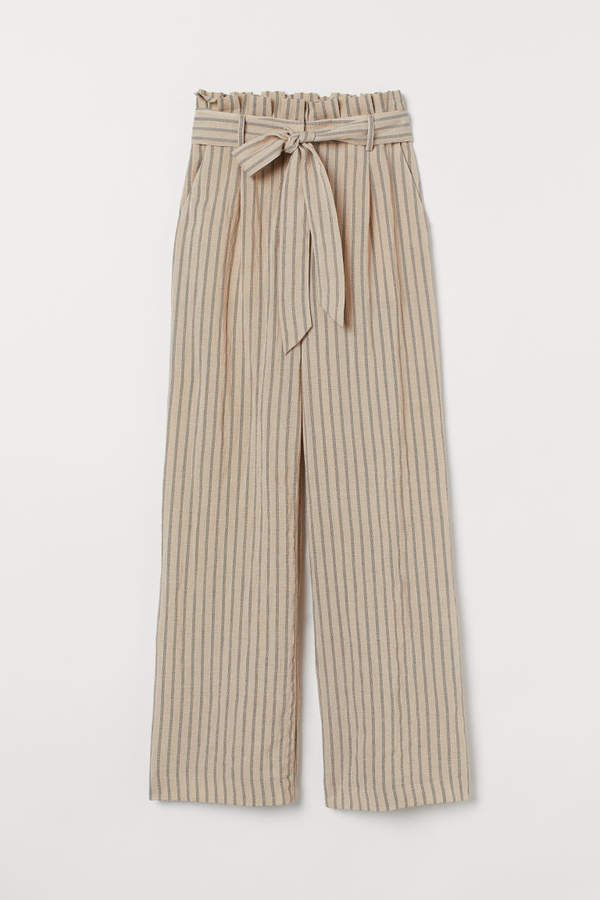 Photo of Wide-cut Paper-bag Pants – Beige/striped – Ladies | H&M US
