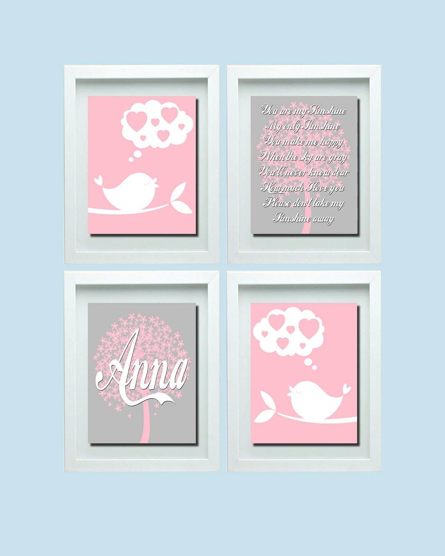 Bird wall art you are my sunshine wall art pink gray nursery pink