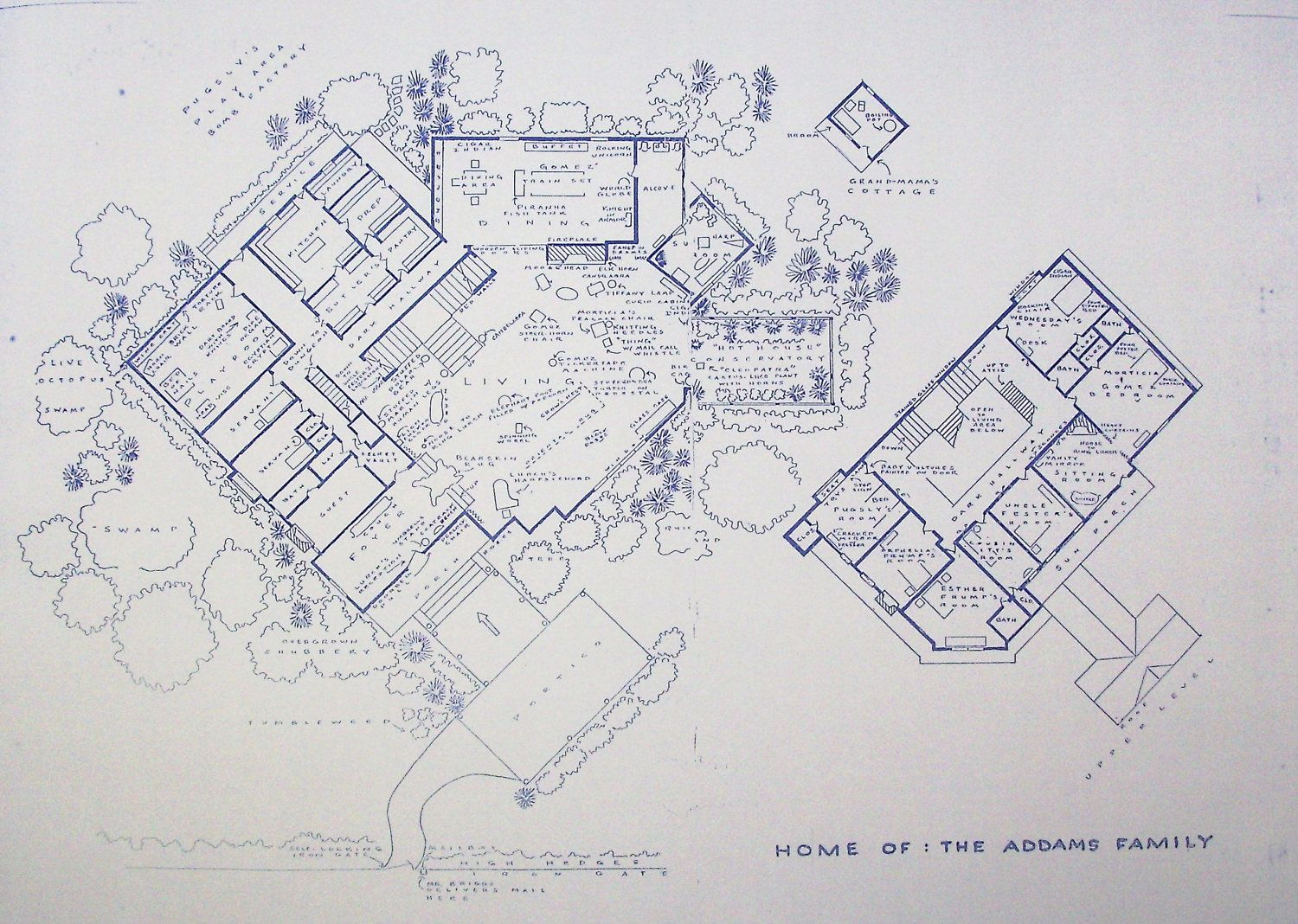 Wonderful 24 x 36 blueprint of the addams family house made the house from addams family tv show blueprint classic second empire with a tower and mansard roof malvernweather Image collections
