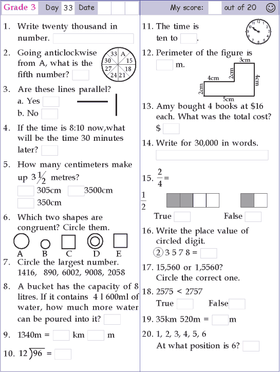 Mental Math Grade 3 Day 33 Kids Math Worksheets Math Pages