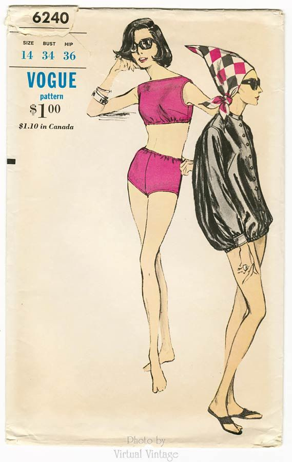 9eb5956a85 1960s Tankini Swimsuit Pattern Vogue 6240, Mod Two Piece Bathing Suit &  Blouson…