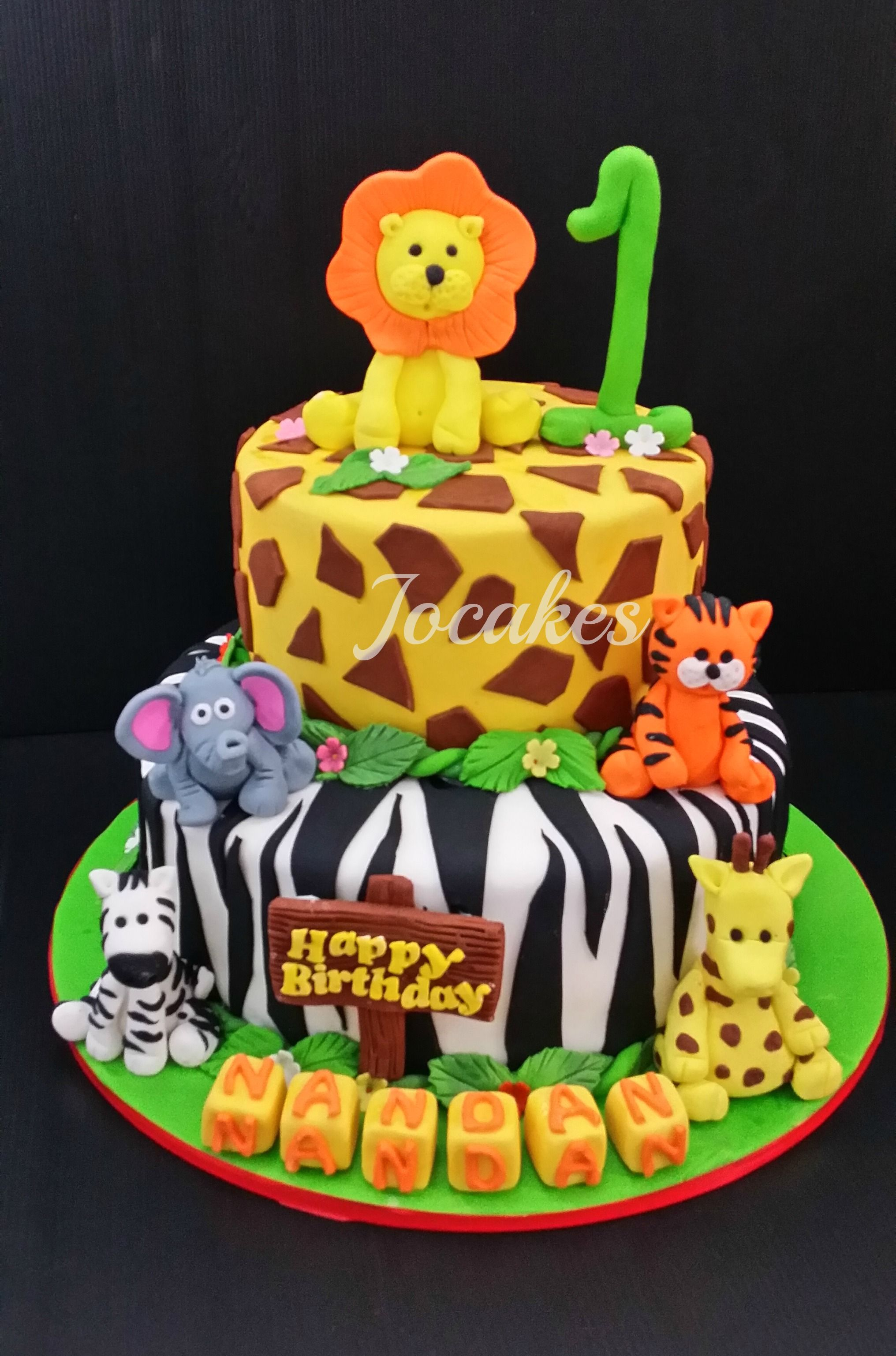 Jungle Animal Cake Jungle animal cake for Nandans 1st birthday