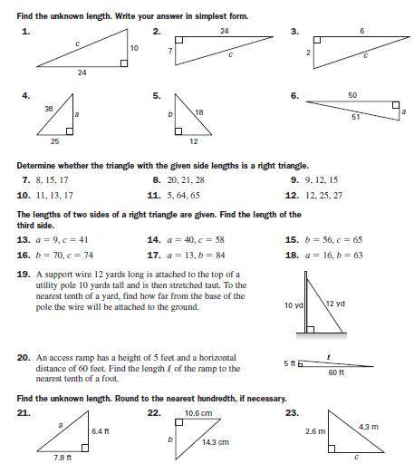 Pythagorean Theorem Practice Pythagorean theorem worksheets word