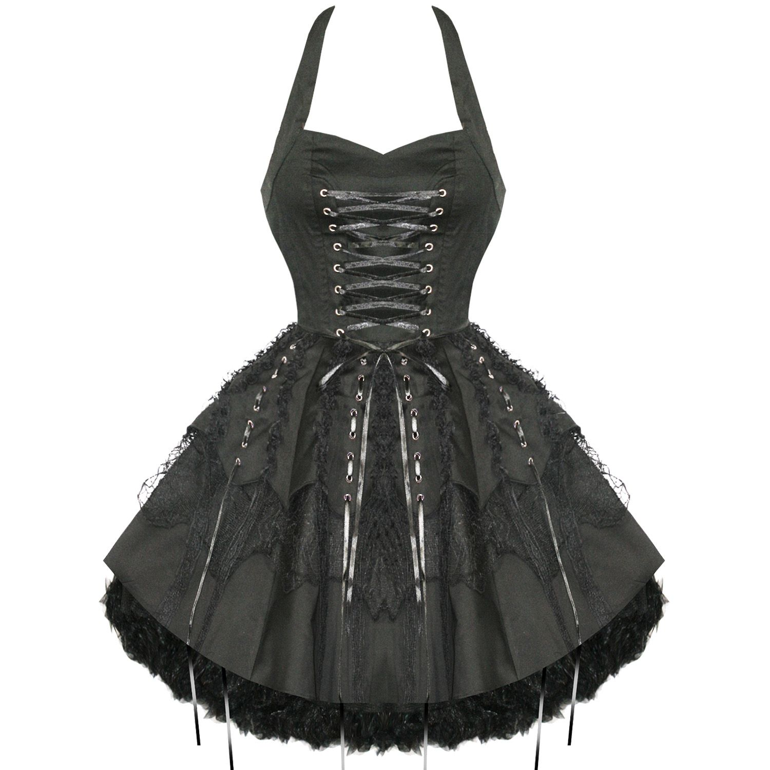 HEARTS & ROSES LONDON BLACK LACE GOTHIC STEAMPUNK EMO PARTY PROM ...